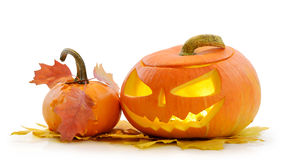 Zucca Jack O'Lantern di Halloween Fotografia Stock