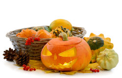 Zucca Jack O'Lantern di Halloween Immagini Stock Libere da Diritti