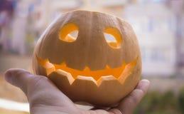 Zucca o'Lantern sorridente di Jack Halloween Fotografie Stock