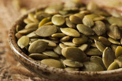 Zucca organica cruda Pepita Seeds Fotografia Stock Libera da Diritti