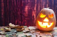Zucca per Halloween su un fondo di legno immagine stock