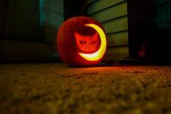 Zucca scolpita della luna e del gatto Fotografie Stock