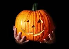 Zucca scolpita terrificante tradizionale di Halloween Fotografia Stock