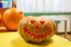 Zucca sorridente capa per Halloween Fotografie Stock