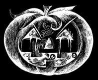 Zucca spaventosa nera di Halloween Immagine Stock