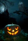 Zucca spaventosa su Halloween nigh Fotografia Stock