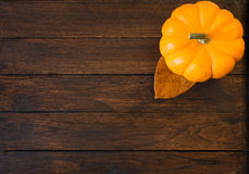 Zucca su fondo di legno fotografia stock libera da diritti