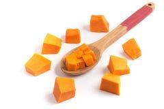 Zucca tagliata in un cucchiaio Fotografie Stock