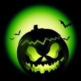 Zucca verde di Halloween Immagine Stock