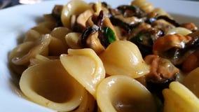 Zuccchine för Orecchiette cozze e - pasta royaltyfri fotografi