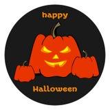 Zucche arancio di Halloween con i fronti Halloween felice Fotografia Stock Libera da Diritti