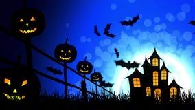 Zucche del castello di Halloween nel fondo blu illustrazione di stock