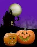 Zucche della priorità bassa di Halloween Fotografia Stock