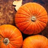 Zucche di autunno con le foglie sul bordo di legno Assortimento della p Fotografie Stock Libere da Diritti