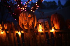 Zucche di Halloween alla notte Fotografia Stock Libera da Diritti