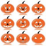Zucche di Halloween in arancia, in bianco e nero con l'elemento dell'ombra Immagine Stock Libera da Diritti
