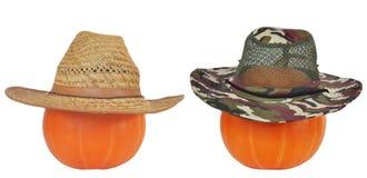 Zucche di Halloween in cappelli Immagine Stock