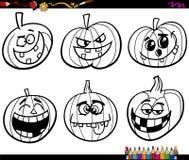 Zucche di Halloween che colorano pagina Immagine Stock Libera da Diritti