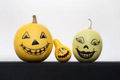 Zucche di Halloween con i fronti dipinti Immagine Stock Libera da Diritti