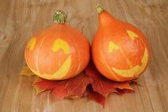 Zucche di Halloween con il fronte divertente Fotografia Stock Libera da Diritti
