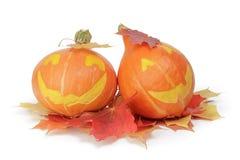 Zucche di Halloween con il fronte divertente Fotografia Stock
