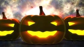 Zucche di Halloween con la luce della candela dentro Fotografia Stock Libera da Diritti