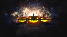 Zucche di Halloween con la luce della candela dentro Fotografie Stock