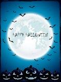 Zucche di Halloween con la luna ed i pipistrelli Fotografia Stock Libera da Diritti
