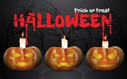 Zucche di Halloween con le candele Immagini Stock