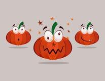Zucche di Halloween con le emozioni Fotografia Stock Libera da Diritti