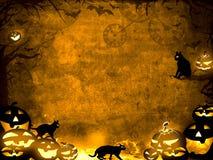Zucche di Halloween e gatti neri - fondo marrone di struttura di seppia Fotografia Stock