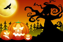 Zucche di Halloween in foresta spaventosa Fotografia Stock Libera da Diritti