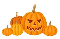 Zucche di Halloween. Illustrazione di vettore. Fotografia Stock