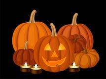 Zucche di Halloween. Illustrazione di vettore. Immagini Stock