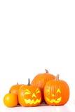 Zucche di Halloween isolate Immagine Stock