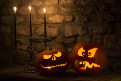 Zucche di Halloween - Jack OLanterns Fotografia Stock