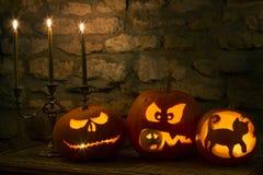 Zucche di Halloween - lanterna di Jack O Immagini Stock Libere da Diritti