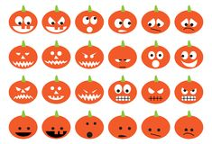 Zucche di Halloween messe delle icone Fotografie Stock