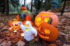 Zucche di Halloween nel parco di autunno Immagini Stock Libere da Diritti