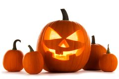 Zucche di Halloween su bianco fotografie stock