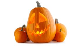Zucche di Halloween su bianco immagine stock libera da diritti