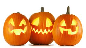 Zucche di Halloween su bianco fotografia stock