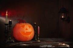 Zucche di Halloween sulla tavola di legno Immagine Stock Libera da Diritti