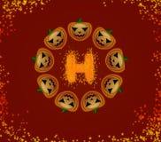Zucche di Halloween in un cerchio Fotografia Stock