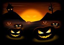Zucche di notte di Halloween Fotografia Stock