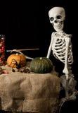 Zucche di scheletro della pittura di Halloween Fotografie Stock Libere da Diritti