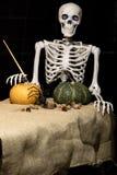 Zucche di scheletro della pittura di Halloween Immagini Stock Libere da Diritti