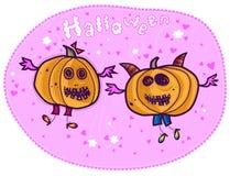 Zucche di volo, Halloween felice Fotografie Stock