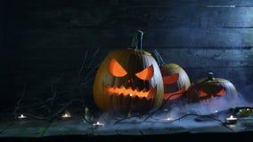 Zucche e candele di Halloween stock footage