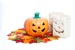 Zucche e candele di Halloween Immagini Stock